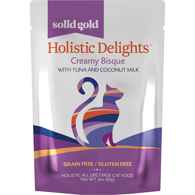Solid Gold Holistic Delights Creamy Bisque Grain Free Wet Cat Food, Tuna and Coconut Milk, 3 oz., Case of 12 - Carousel image #1