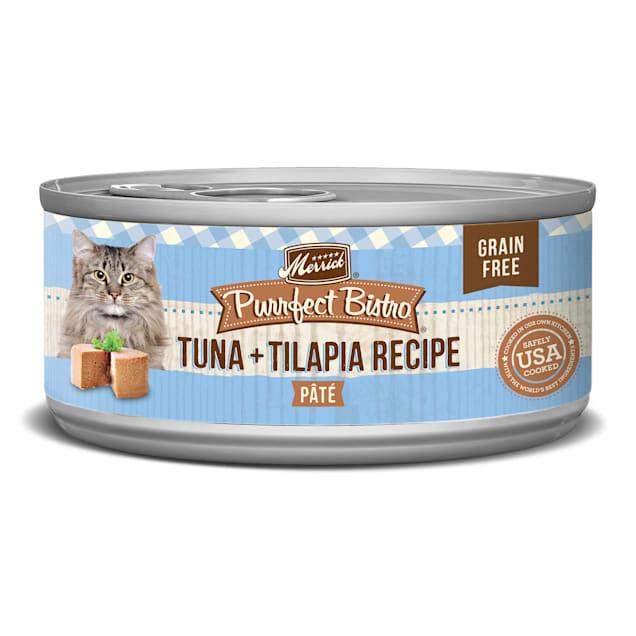 Merrick Purrfect Bistro Grain Free Tuna & Tilapia Pate Wet Cat Food, 5.5 oz., Case of 24 - Carousel image #1