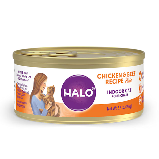 Halo Indoor Grain Free Chicken & Beef Pate Recipe Canned Cat Food, 5.5 oz., Case of 12 - Carousel image #1