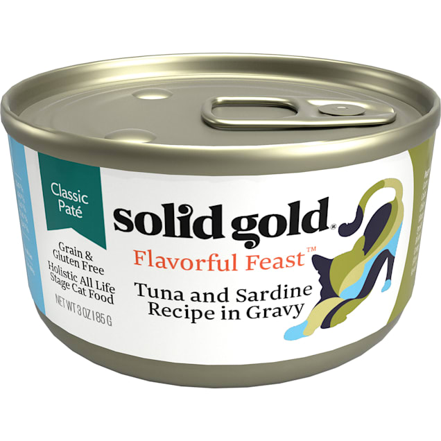 Solid Gold Flavorful Feast Tuna & Sardine Recipe in Gravy Holistic Grain Free Canned Cat Food, 3 oz., Case of 12 - Carousel image #1