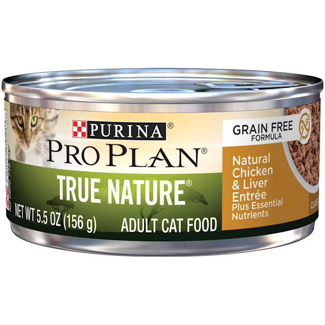 Purina Pro Plan True Nature Grain Free Formula Natural Chicken & Liver Entree Wet Cat Food, 5.5 oz., Case of 24 - Carousel image #1