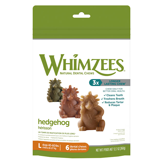 Whimzees Natural Grain Free Daily Dental Long Lasting Hedgehog Large Dog Treats, 12.7 oz., Pack of 6 - Carousel image #1