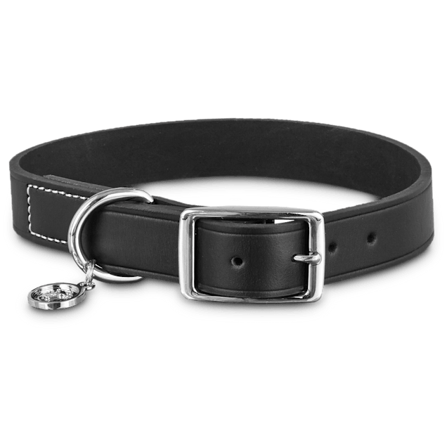 Bond & Co. Black Leather Dog Collar, Large - Carousel image #1