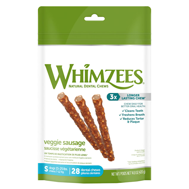 Whimzees Small Veggie Sausage Dog Treats, 28-count - Carousel image #1