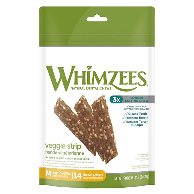 Whimzees Medium Veggie Strips Dog Treats, 14-count - Carousel image #1