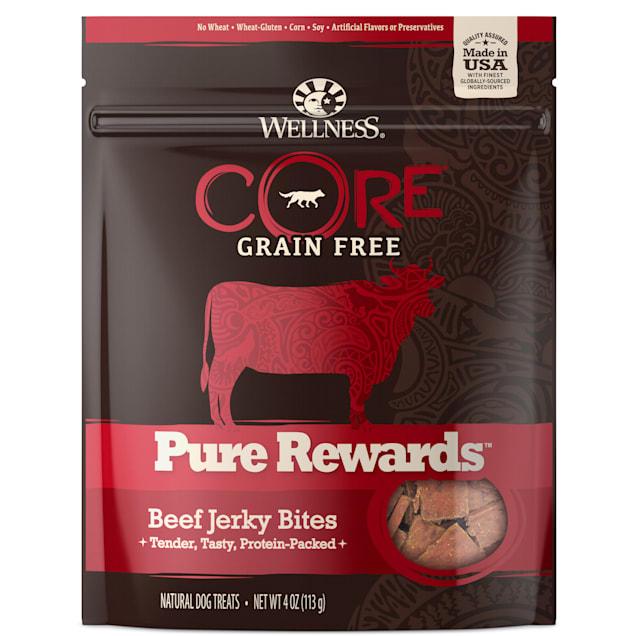 Wellness CORE Natural Grain Free Pure Rewards Beef Recipe Jerky Bites Dog Treats, 4 oz - Carousel image #1