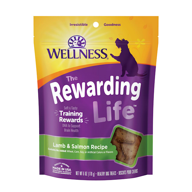Wellness Natural Grain Free Wellbites Lamb & Salmon Recipe Soft Dog Treats, 6 oz - Carousel image #1