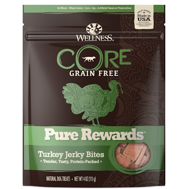 Wellness CORE Natural Grain Free Pure Rewards Turkey Recipe Jerky Bites Dog Treats, 4 oz - Carousel image #1