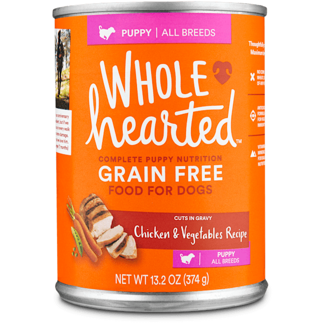 WholeHearted Grain Free Puppy Chicken and Vegetable Recipe Wet Dog Food, 13.2 oz., Case of 12 - Carousel image #1