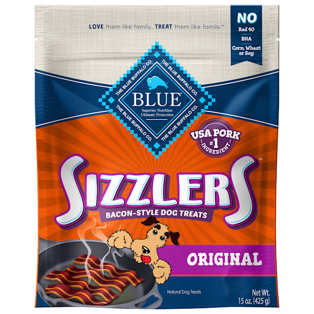 Blue Buffalo Blue Sizzlers Bacon-Style Dog Treats, 15 oz. - Carousel image #1