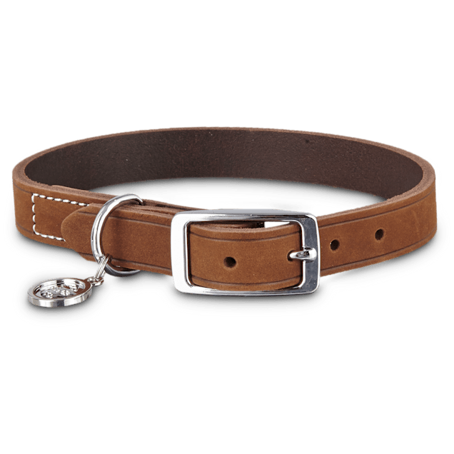 Bond & Co. Mahogany Leather Dog Collar, Medium - Carousel image #1
