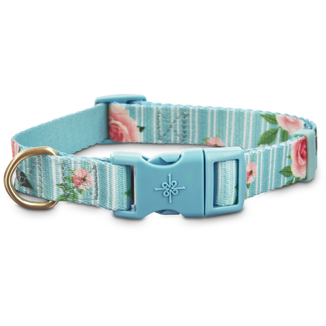 Good2Go Pink Rose Print Dog Collar in Blue, Large - Carousel image #1