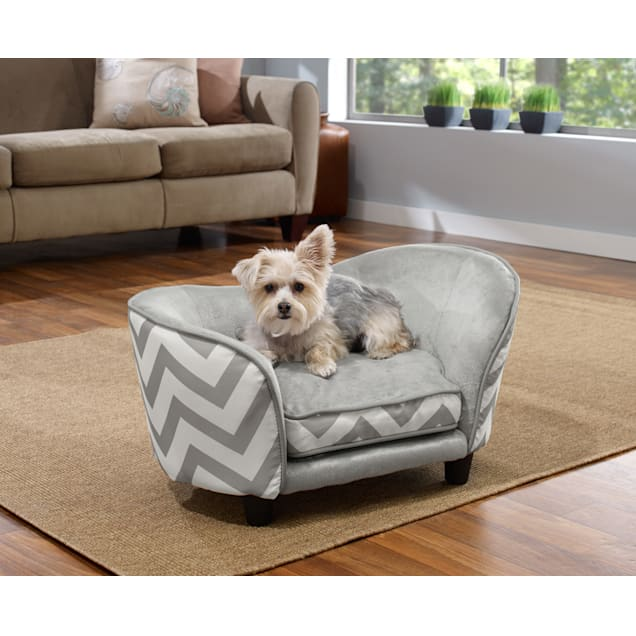 "Enchanted Home Pet Grey Chevron Ultra Plush Snuggle Pet Bed, 26.5"" x 16"" - Carousel image #1"