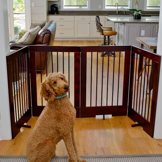 Cardinal Gates 4-Panel Freestanding Pet Gate, Walnut - Carousel image #1