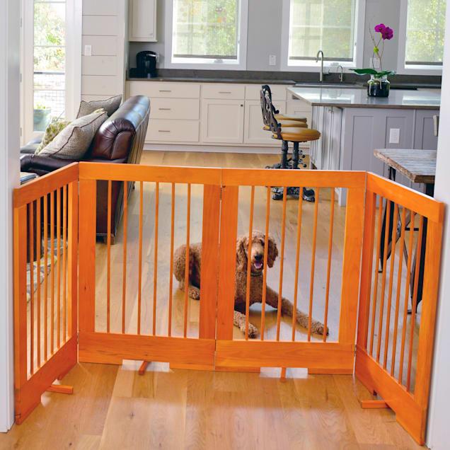 Cardinal Gates 4-Panel Freestanding Pet Gate, Oak - Carousel image #1