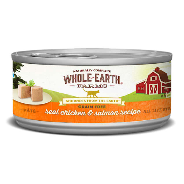Whole Earth Farms Grain Free Real Chicken & Salmon Recipe Wet Cat Food, 5 oz., Case of 24 - Carousel image #1