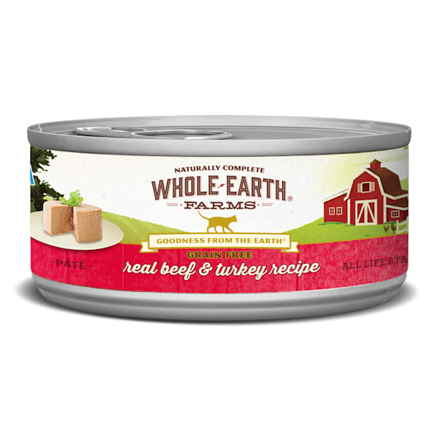 Whole Earth Farms Grain Free Real Beef & Turkey Recipe Wet Cat Food, 5 oz., Case of 24 - Carousel image #1
