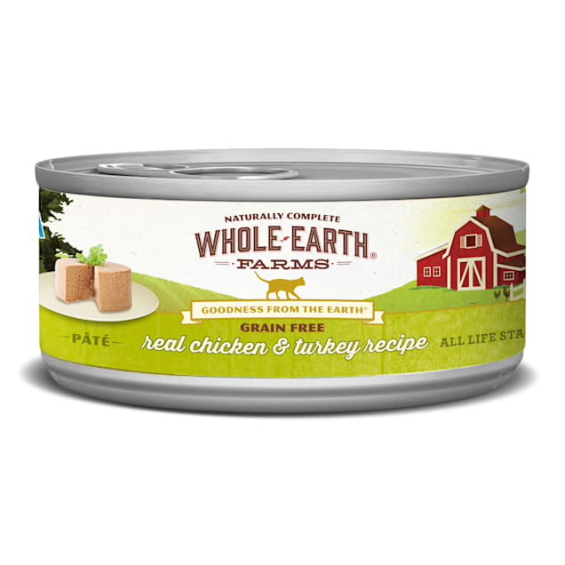 Whole Earth Farms Grain Free Real Chicken & Turkey Recipe Wet Cat Food, 5 oz., Case of 24 - Carousel image #1