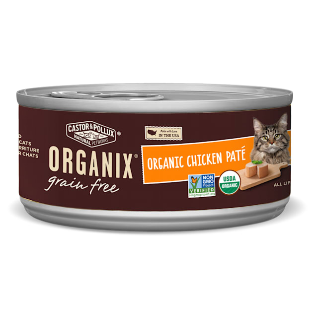 Castor & Pollux Organix Grain Free Chicken Pate Wet Canned Cat Food, 5.5 oz., Case of 24 - Carousel image #1