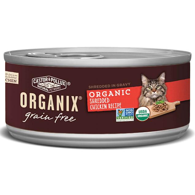 Castor & Pollux Organix Grain Free Organic Shredded Chicken Recipe Wet Cat Food, 5.5 oz., Case of 24 - Carousel image #1