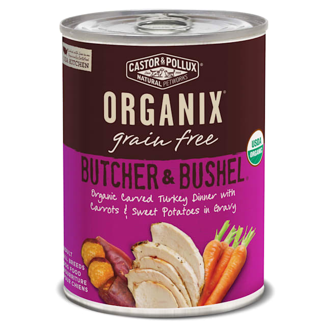 Castor & Pollux Organix Butcher & Bushel Organic Carved Turkey Dinner Wet Dog Food, 12.7oz.,Case of 12 - Carousel image #1