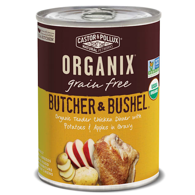 Castor & Pollux Organix Butcher & Bushel Organic Tender Chicken Dinner with Potatoes & Apples Wet Dog Food, 12.7 oz., Case of 12 - Carousel image #1