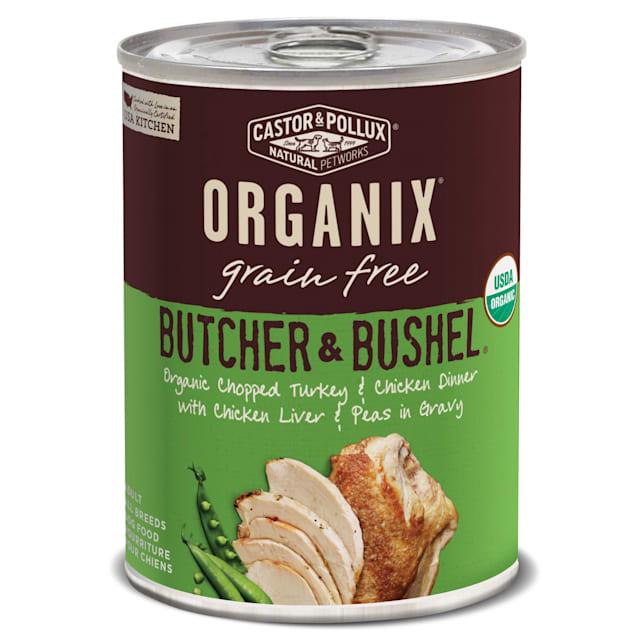 Castor & Pollux Organix Butcher & Bushel Grain Free Organic Chopped Turkey & Chicken Dinner Wet Dog Food, 12.7 oz., Case of 12 - Carousel image #1