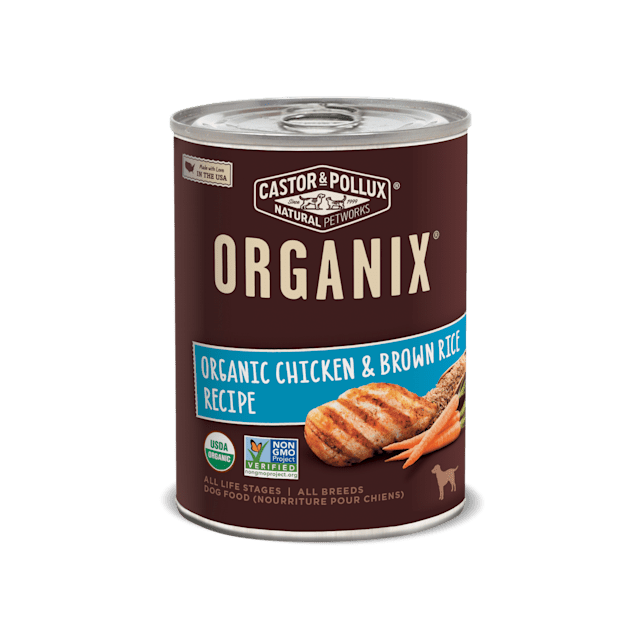 Castor & Pollux Organix Organic Chicken & Brown Rice Recipe Wet Dog Food, 12.7 oz., Case of 12 - Carousel image #1