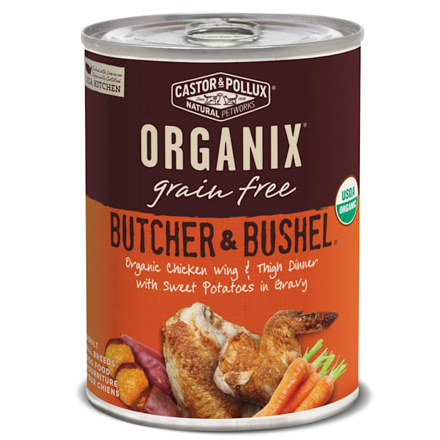 Castor & Pollux Organix Butcher & Bushel Organic Chicken Wing & Thigh Dinner Wet Dog Food, 12.7 oz., Case of 12 - Carousel image #1