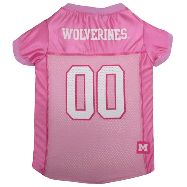 Pets First Michigan Wolverines Pink Jersey, X-Small - Carousel image #1