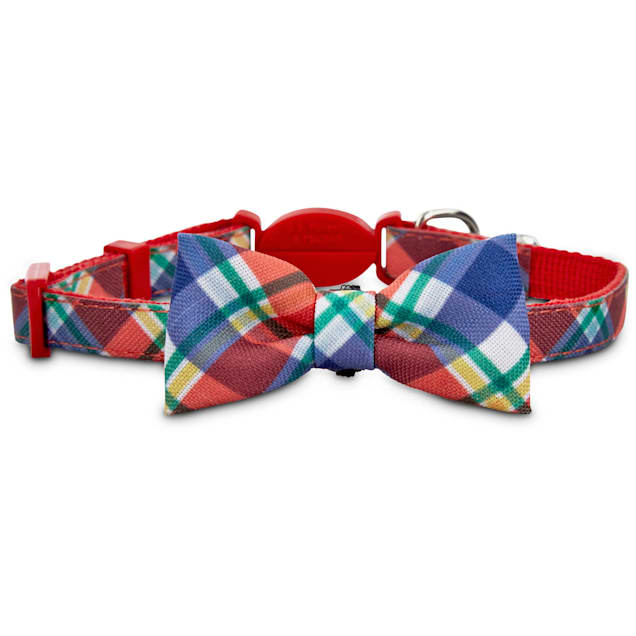 Bond & Co. Red Plaid Bow Tie Cat Collar, X-Small/XX-large - Carousel image #1