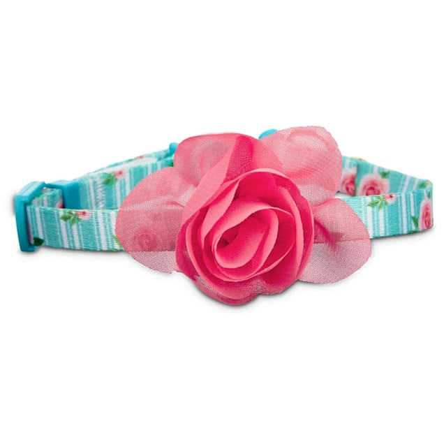 Bond & Co. Pink Rose Print Cat Collar in Blue, X-Small/XX-large - Carousel image #1
