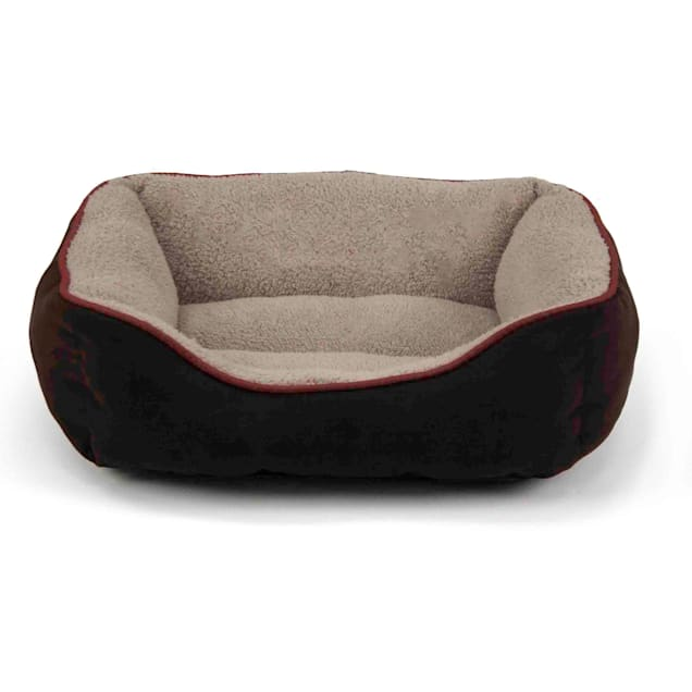 """Dallas Manufacturing Brown Faux Suede Cuddler Pet Bed, 25"""" L x 21"""" W - Carousel image #1"""