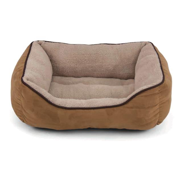 "Dallas Manufacturing Tan Faux Suede Cuddler Pet Bed, 36"" L x 27"" W - Carousel image #1"