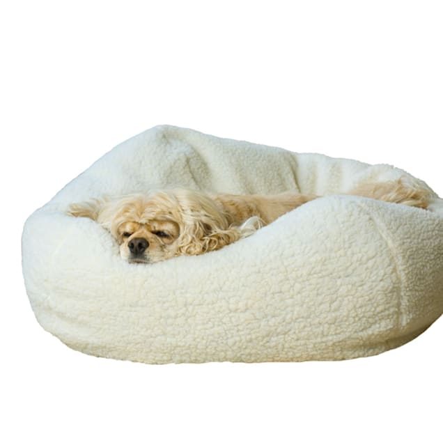 "Carolina Pet Company White Sherpa Puff Ball Dog Bed, 32"" L x 32"" W - Carousel image #1"