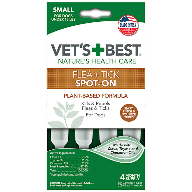 Vet's Best Topical Flea & Tick Treatment for Dogs up to 15lbs, 4 Month Supply - Carousel image #1