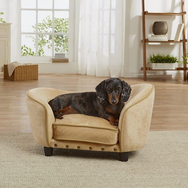 "Enchanted Home Pet Caramel Ultra Plush Snuggle Pet Sofa, 26.75"" L x 16"" W - Carousel image #1"