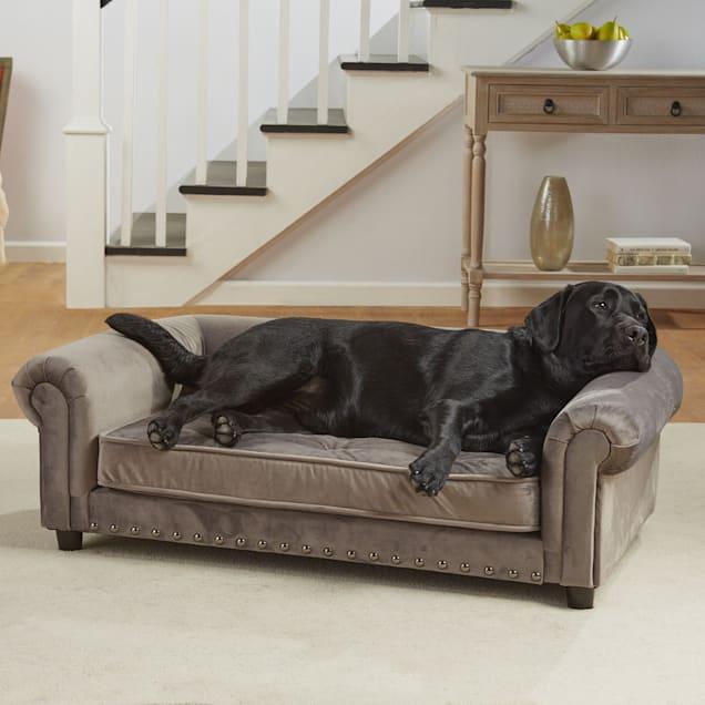 "Enchanted Home Pet Grey Velvet Manchester Pet Sofa, 44.5"" L x 27.5"" W - Carousel image #1"
