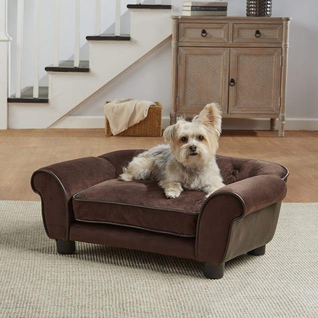 "Enchanted Home Pet Brown Ultra Plush Cleo Pet Sofa, 28.38"" L x 17.38"" W - Carousel image #1"