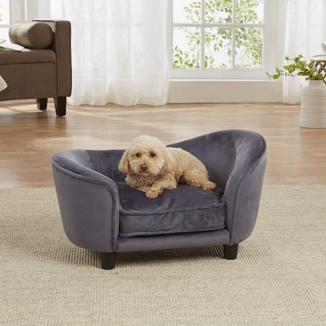 "Enchanted Home Pet Dark Grey Ultra Plush Snuggle Pet Sofa, 26.75"" L x 16"" W - Carousel image #1"