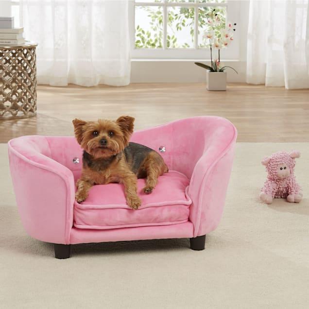 "Enchanted Home Pet Light Pink Ultra Plush Snuggle Pet Sofa, 26.75"" L x 16"" W - Carousel image #1"