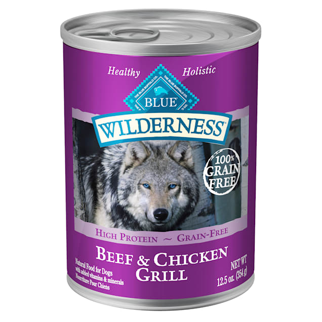 Blue Buffalo Blue Wilderness Beef & Chicken Grill Adult Wet Dog Food, 12.5 oz., Case of 12 - Carousel image #1