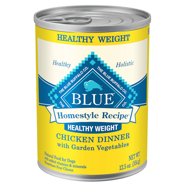 Blue Buffalo Blue Homestyle Recipe Chicken Dinner with Garden Vegetables Healthy Weight Adult Wet Dog Food, 12.5 oz., Case of 12 - Carousel image #1