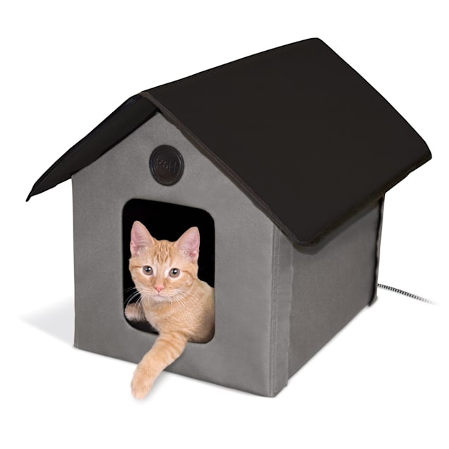"""K&H Gray and Black Outdoor Heated Cat House, 18"""" L x 22"""" W - Carousel image #1"""