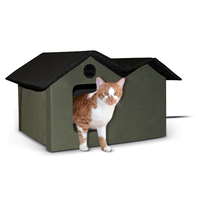 """K&H Olive and Black Outdoor Heated Cat House, 26.5"""" L x 15.5"""" W - Carousel image #1"""