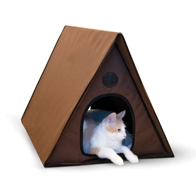 """K&H Chocoloate Outdoor Heated A-Frame Cat Bed, 35"""" L x 20.5"""" W - Carousel image #1"""