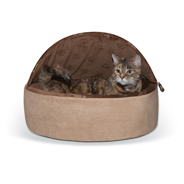 """K&H Chocolate and Tan Self Warming Hooded Cat Bed, 20"""" L x 20"""" W - Carousel image #1"""