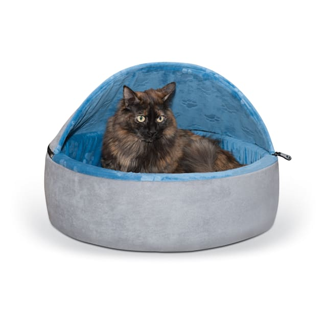 """K&H Blue and Gray Self Warming Hooded Cat bed, 20"""" L x 20"""" W - Carousel image #1"""