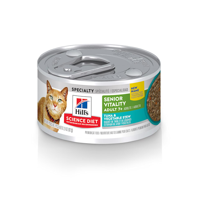 Hill's Science Diet Adult 7+ Youthful Vitality Tuna & Vegetable Stew Canned Cat Food, 2.9 oz., Case of 24 - Carousel image #1