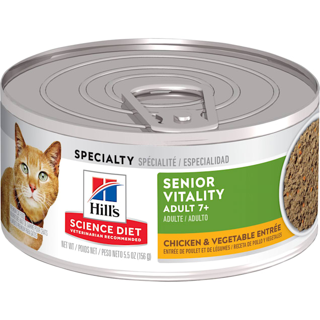Hill's Science Diet Adult 7+ Youthful Vitality, Chicken & Vegetable Entree Canned Wet Cat Food, 5.5 oz., Case of 24 - Carousel image #1